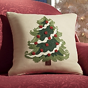 Christmas Tree Embroidered Pillow