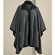 houndstooth zip front cape