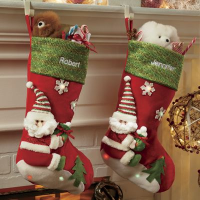 Personalized Lighted Santa Stocking