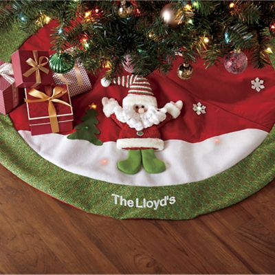 Personalized Lighted Santa Tree Skirt