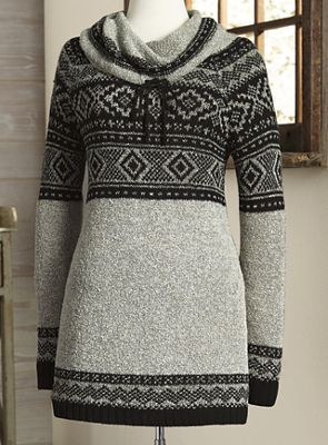 Cowlneck Patterned Sweater