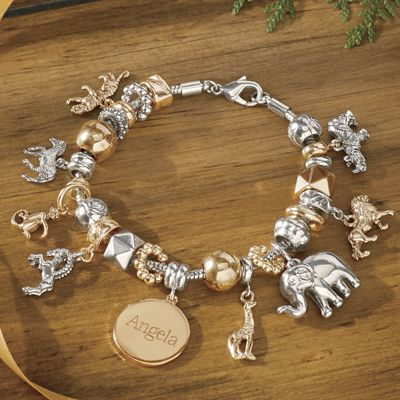 Personalized Name Two-Tone Safari/Charm Bracelet
