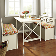 Cottage Dining Table, Storage Bench and Indoor/Outdoor Bench Cushion
