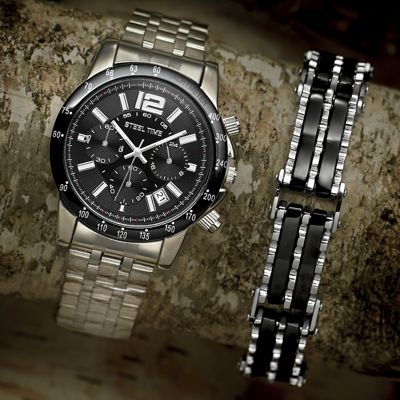 Stainless Steel Watch and Bracelet Set