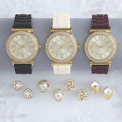 Crystal Watch with 4 Pairs of Earrings