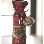 Plaid Faux-Fur Wine Bag