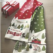 set of 2 christmas tree farm towels