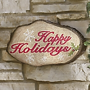 happy holidays wooden sign