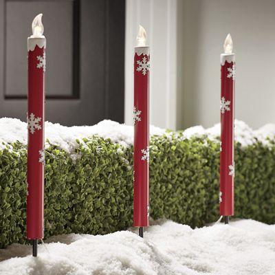 Set of 3 Solar Snowflake Candlesticks