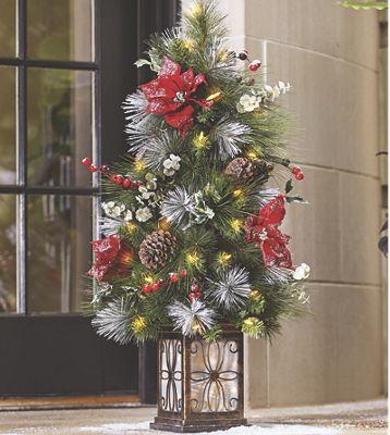 3-Ft Pine/Poinsettia Porch Tree