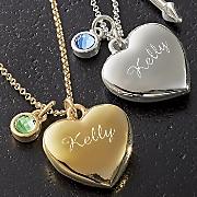 name birthstone heart pendant