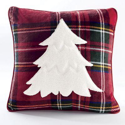 Plaid Sherpa Applique Pillow