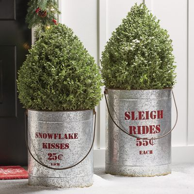 Set of 2 Galvanized Christmas Buckets