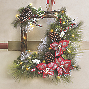 Pine and Poinsettia Rectangular Wreath