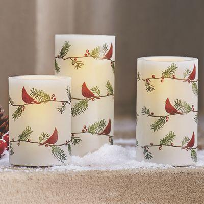 Set of 3 LED Cardinal Candles