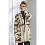 Belted Blanket Stripe Sweater