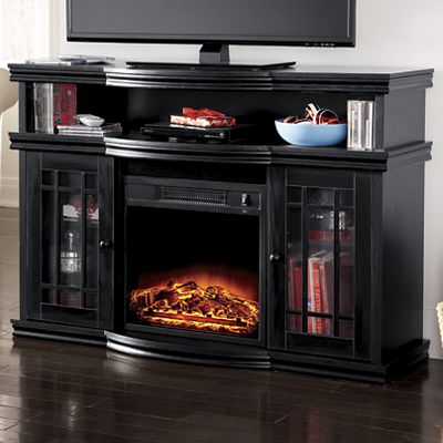 Black Media Center Fireplace