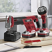 Cordless Drill & Worklight Set and 2-Piece Reciprocating Saw & Worklight Set by Montgomery Ward