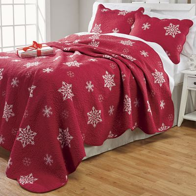 Embroidered Snowflake Quilt and Sham from Country Door   NW755674 : red snowflake quilt - Adamdwight.com