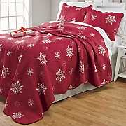 embroidered snowflake quilt and sham