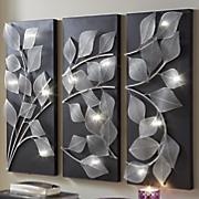 3-Panel Lit Leaves Wall Art