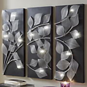 3 panel lit leaves wall art