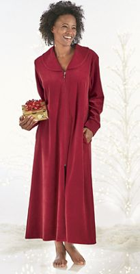 Zip-Up Velour Lounging Nightgown