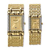 Men's or Women's Goldtone Diamond Name Watch