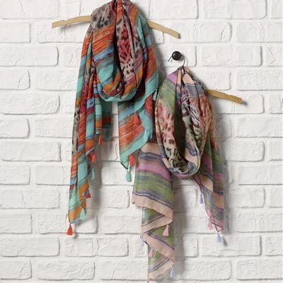 Multicolored Animal Print Scarf