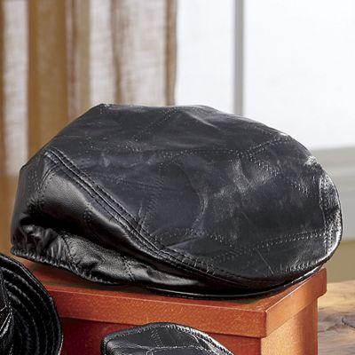 Men's Leather Patchwork Newsboy Cap