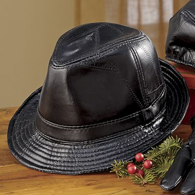Men's Leather Patchwork Fedora Hat