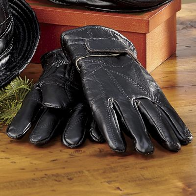 Men's Leather Patchwork Fleece-Lined Gloves