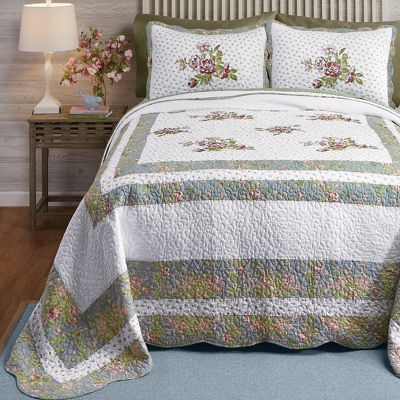 Loretta Embroidered Quilted Bedspread and Sham