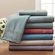 4 pc  granada embroidered microfiber sheet set