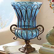 vivid blue vase with handles