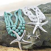 starfish and silvertone beaded necklace earring set