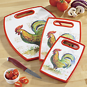 3 pc  rooster cutting board set by cuisinart