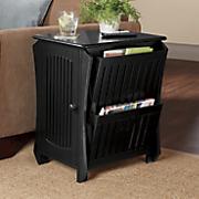 Black Slat Side Storage Table