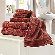 6 pc  majestic velvet jacquard towel set