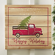 wooden happy holiday sign