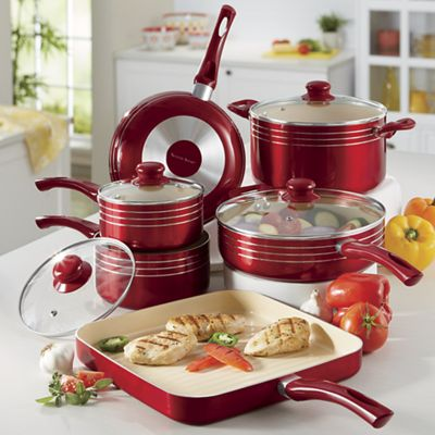 10-Piece Metallic Ceramic Cookware Set by Seventh Avenue