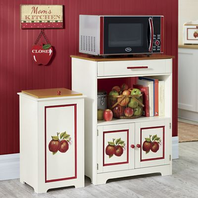 Double Apple Microwave Stand, Trash Bin and Breadbox
