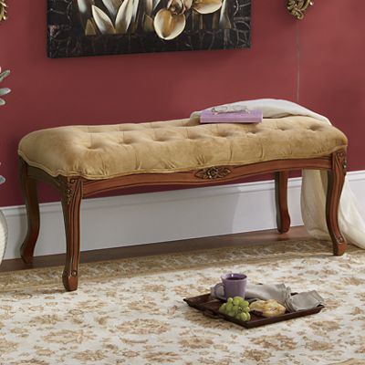 Carved Tufted Bench