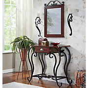 4 pc  entry table with mirror and sconce set