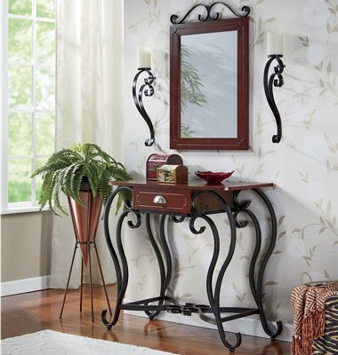 Entry Table with Mirror and Sconce Set