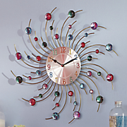 multicolor crystals metal wall clock