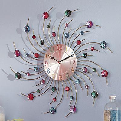 Multicolor Crystals Metal Wall Clock
