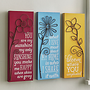 3 pc  bloom wall plaque set
