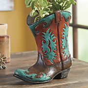 hand painted turquoise flame boot