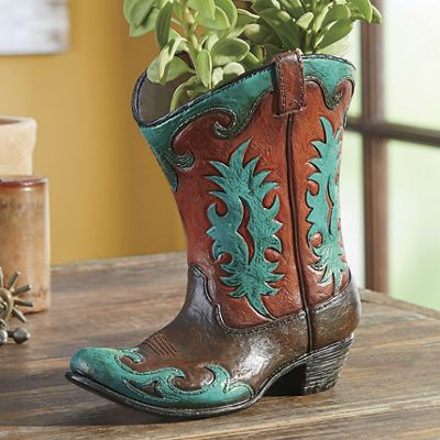 Hand-Painted Turquoise Flame Boot